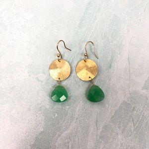 Green and gold boho dangle earrings NWOT